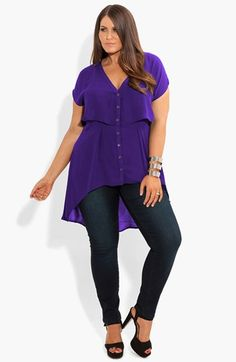 City Chic Cropped Layer High/Low Tunic (Plus Size) | Nordstrom - black or violet (violet of course) - i would totally wear this top