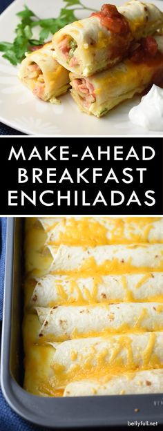 This Make-Ahead Breakfast Enchiladas recipe is a super easy and delicious casserole that can be made the night before and baked the next day! Make Ahead Breakfast Casseroles, Bacon Breakfast Casserole, Breakfast Tortilla, Christmas Breakfast Casserole, Breakfast Cassarole, Mexican Breakfast Recipes, Corn Tortilla Casserole, Breakfast Bake, Breakfast Wraps