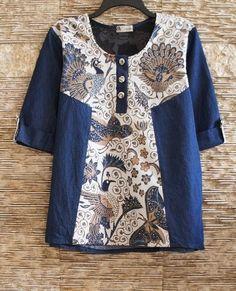 Jeans mixed with vintage hand drawn batik tunic Frock Fashion, Batik Fashion, Blouse Batik, Batik Dress, Pakistani Fashion Casual, Pakistani Dress Design, Kurta Designs, Blouse Designs, Clothing Hacks