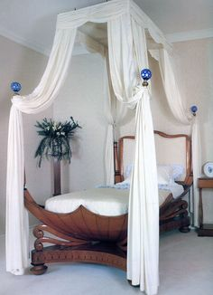 An Austrian cherry-veneer and ebony-inlaid four-poster bed. Senior Living Facilities, Biedermeier, Four Poster Bed, Guest Bedrooms, Master Bedroom, Hanging Chair, Beautiful Bedrooms, Canopy Beds, French Empire
