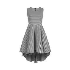 Neo Striped Dress by Twist X Turn (155 BRL) ❤ liked on Polyvore featuring dresses, white, high neck white dress, pattern dress, stripe dresses, white striped dress and striped sleeveless dress
