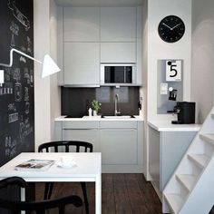 ikea kitchens small kitchen set up white kitchen cabinets fronts dining table kitch … - Home Decor Small Kitchen Set, Micro Kitchen, White Kitchen Decor, Kitchen Sets, Kitchen Interior, Compact Kitchen, Kitchen Cabinets Fronts, Wall Cabinets, Compact Living