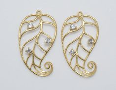 Cubic Leaf Pendant, Connector, Jewelry Craft Supply, Matte Gold - 2pcs / IA0016-MG