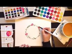 How to paint a watercolor flower wreath - YouTube