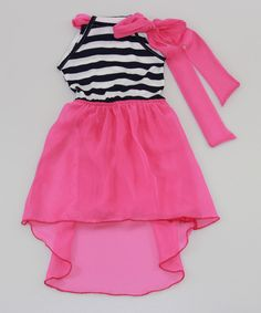 Another great find on #zulily! Mia Belle Baby Pink & Navy Stripe Chiffon Hi-Low Dress - Toddler & Girls by Mia Belle Baby #zulilyfinds
