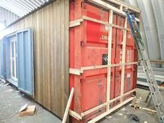Interesting to see how to clad the container. I like the idea of cladding in cedar. Would make the exterior walls really thick though Cargo Container Homes, Container Shop, Shipping Container House Plans, Building A Container Home, Container Cabin, Container Buildings, Container Architecture, Container House Design, Shipping Containers