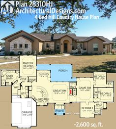 4 bed hill country with split bedroom layout and game room. That's what you get with Architectural Designs #houseplan 28310HJ. Ready when you are. Where do YOU want to build?