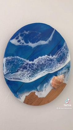 Check out my Etsy shop for more! Acrylic Resin, Acrylic Art, Diy Wall Art, Diy Wall Decor, Ocean Crafts, Resin Tutorial, Diy Projects For Beginners, Beach Cottage Style, Contemporary Wall Art
