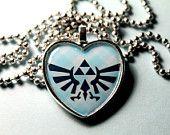 Legend of Zelda  Triforce in Heart  Cameo Pendant Necklace