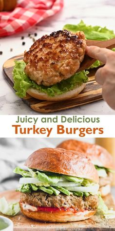 Cooking Turkey Burgers, Ground Turkey Burgers, Turkey Burger Recipes, Chicken Burgers Healthy, Grilled Turkey Burgers, Veggie Burgers, Stuffed Turkey Burgers, Best Chicken Burger Recipe, Ground Turkey Meat Recipes