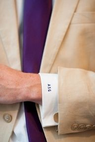 Meghan + Drew's Simple Garden Wedding - monogrammed shirt cuffs! I love these colors together...Purple and tan