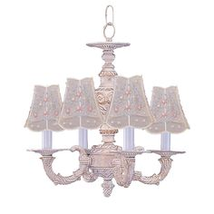 C193-5124-AW By Crystorama Lighting-Abbie Collection Antique White Finish Mini Chandelier