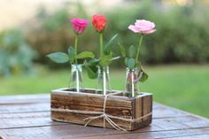 Rectangular Planter Upcycled Brown Wooden by WoodDecoration