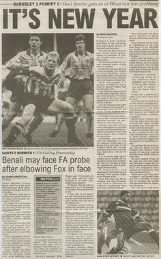 Barnsley 2 Portsmouth 0 in Jan 1993 at Oakwell. Newspaper report on the Division 1 clash.