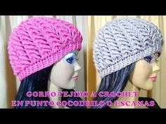 Gorro tejido a crochet para niñas, señoritas y señoras en Punto  Cocodrilo o Escamas paso a paso - YouTube