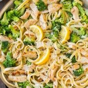 Lemon Fettuccine Alfredo with Grilled Chicken and Broccoli | Cooking Classy