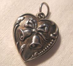 Vintage Sterling Repousse Wedding/Anniversary Bells On Front Puffy Heart Charm