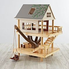 Woodworking For Kids - Shop Treehouse Play Set. We've scaled down the classic treehouse from Camp Wandawega to fit into your kid's playroom. Our Treehouse Play Set is made from wood, it's handpainted, and it features plenty of rooms for small dolls. Kids Woodworking Projects, Woodworking Bench, Woodworking Shop, Wood Projects, Popular Woodworking, Woodworking Videos, Woodworking Classes, Woodworking Organization, Woodworking Quotes