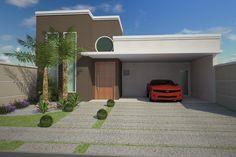 casa moderna contemporânea fachada reta marrom janela redonda pedrinha portuguesa telhado embutido condomínio terreno plano 12x25