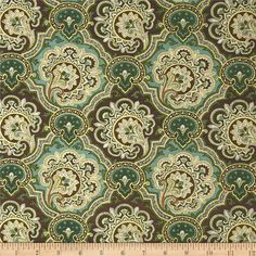 Luxor Metallic Damask Green/Brown from @fabricdotcom  From Fabric Traditions, this cotton print is perfect for quilting, apparel and home décor accents.  Colors include brown, teal, cream and metallic gold.