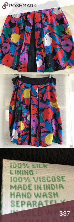 """Lil by Anthropologie silk skirt Beautiful vivid colors silk pleaded skirt. Side zipper. 100% silk. Lining 100 % Viscose, Length about 20.5"""" Anthropologie Skirts"""
