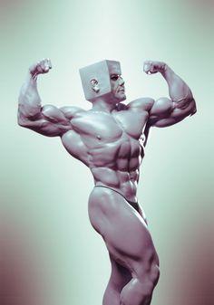 BodybuilderCubeHead I, Jesus Olmos on ArtStation at https://www.artstation.com/artwork/8nVLn