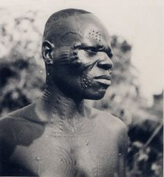 Full: Front Nigeria, head and shoulders portrait of Tiv adult male. Scarification on face, neck and torso. Outdoor setting, vegetation in background. © The Trustees of the British Museum African Face Paint, History Of Nigeria, African Artwork, College Library, Body Adornment, Gelatin Silver Print, Head & Shoulders, 11th Century, Body Modifications