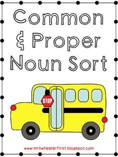 Common and Proper Noun Sort FREEBIE