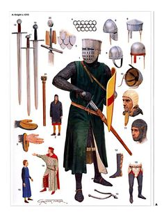English knight Illustrated by Graham Turner English Medieval Knight Medieval Weapons, Medieval Knight, Medieval Fantasy, Armadura Medieval, Costume Français, Costumes, English Knights, High Middle Ages, Armor Clothing