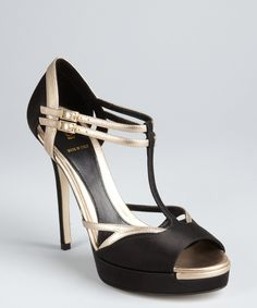 Fendi black and champagne silk and leather strappy platform sandals