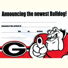University of Georgia Birth Announcement Announcing the Newest Bulldog card with Hairy Dawg Mascot and Georgia G logo. 10 pack. 7X5