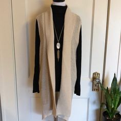 Shop Women's GAP Cream size S Shrugs & Ponchos at a discounted price at Poshmark. Duster Vest, Long Duster, Knit Vest, Dusters, My Outfit, Gap, Cream, Yellow, Sweaters