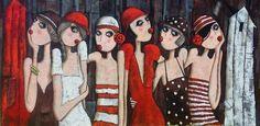 Virginie Matz – Hutwettbewerb in Trouville – - Malerei Kunst Art Des Gens, Art Mini Toile, Pop Art, Images D'art, Mini Canvas Art, Colorful Paintings, Art Journal Inspiration, Cartoon Drawings, Figurative Art