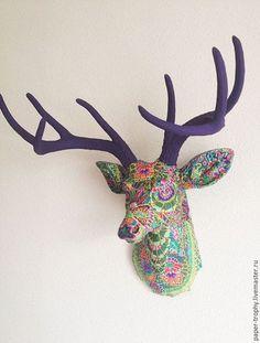 Интерьерные  маски ручной работы. Ярмарка Мастеров - ручная работа. Купить Интерьерная голова оленя. Handmade. Голова оленя
