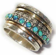 Gold 14k Silver Bridal Wedding Ring Turquoise Opal Sz 7 | eBay