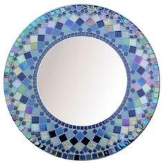 ROUND MOSAIC MIRROR Choose size Blue Rectangular,Square,Oval custom order