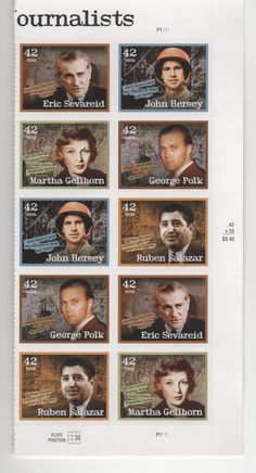 This is a sheet from a set of U.S. stamps depicting famous journalists.