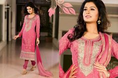 Pretty Pink chiffon punjabi suit with border work.pair with mathcing bottom and dupatta. Punjabi Suits, Salwar Kameez, Pretty In Pink, Chiffon, Sari, Dresses With Sleeves, Indian, Long Sleeve, Casual