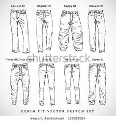 Denim fit vector sketch set - stock vector