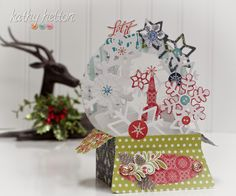 Oh, is that a chill in the air!  No, wait, it's just the air conditioner!  Oh drats!  Anyway, it's Christmas in July time and the awesome CHRISTMAS BOX CARDS SVG KIT is a smash hit!  Kathy's Snow Globe Box Card gave me chills of delight when I saw it, so enchanting!  It really does look like you just shook the snow globe and all the snow is blowing around inside!  BRRRRRRRRR!!!!!