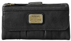 $65, Black Leather Clutch: Fossil Emory Leather Clutch Wallet. Sold by Nordstrom. Click for more info: https://lookastic.com/women/shop_items/139215/redirect