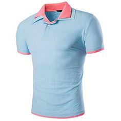 メンズカジュアル ダブル襟 半袖 スリム フィットポロシャツ,15色 JewellryUS…