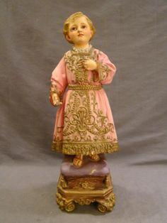 Antique Spanish Colonial Religious Icon Plaster Glass Eye Saint Santos Statue | eBay