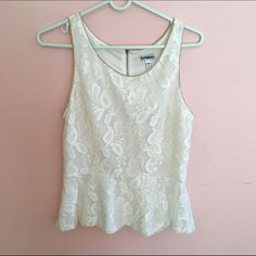 EXPRESS Lace Peplum Cream colored lace peplum with gold lining around neck, arms, and bottom (as seen in second pic). Gold hardware zipper going down back. Great soft fabric. Excellent condition- only worn once. Express Tops