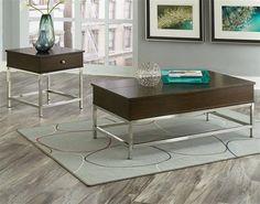 Beckett Modern Merlot Cherry Wood Metal Coffee Table Set