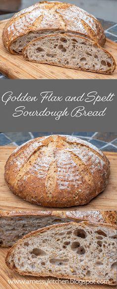 A Messy Kitchen: Golden Flax and Spelt Sourdough Loaf Spelt Recipes, Sourdough Recipes, Flour Recipes, Bread Recipes, Spelt Sourdough Bread, Sprouted Spelt Bread Recipe, Bread Starter, Baking Stone, Spelt Flour