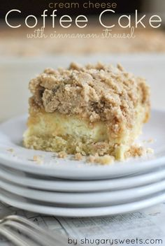 Thick Coffee Cake has a swirl of Cream Cheese filling and a generous layer of Cinnamon Streusel | Shugary Sweets