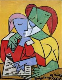 Two Girls Reading Pablo Picasso (Spain, Oil on canvas. University of Michigan Museum of Art. Picasso chose to depict this quiet and contemplative subject with strident colors and. Kunst Picasso, Art Picasso, Picasso Paintings, Picasso Style, Cubist Movement, Guernica, Art Moderne, Art Lessons, Painting Lessons