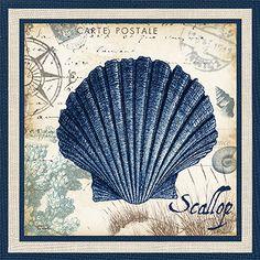 RB6365TS <br> Seaside Indigo Shells III <br> 12x12