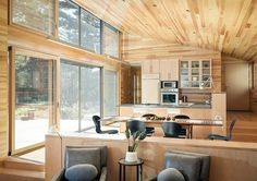 Love the wood ceiling & wall of glass!  Pond House by Scott Simons Architects